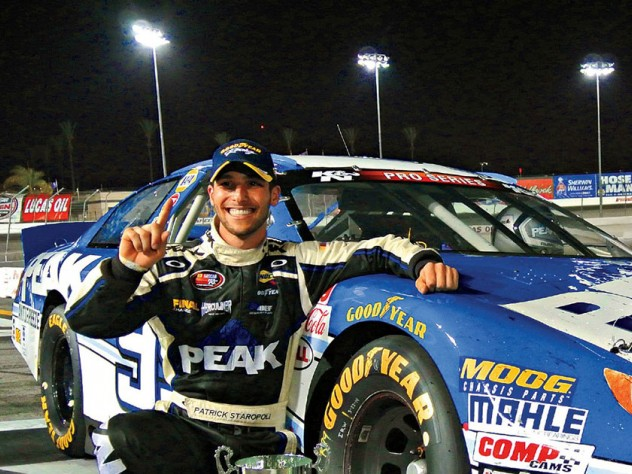 A grinning Staropoli celebrates after winning the NAPA Auto Parts 150 in Irwindale, California, last year.