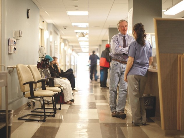O'Connell on duty at one of the Boston Health Care for the Homeless Program clinics