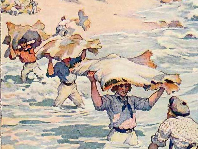 """An image of the California hide trade used to illustrate a 1911 edition of his classic work, """"Two Years Before the Mast"""""""