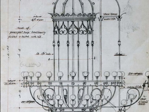 Sketched plan for the chandelier