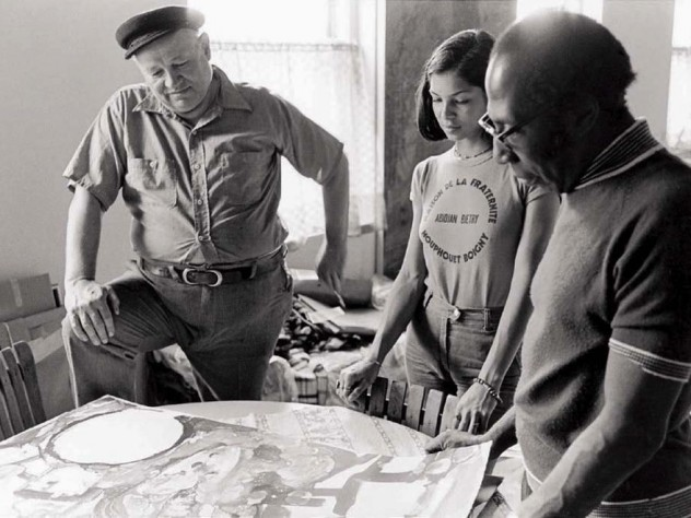 A 1975 photo of Bearden (at left) in his studio with photographer Jeanne Moutoussamy and master printmaker Robert Blackburn