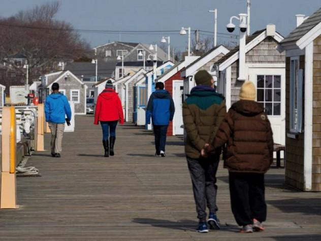 Winter walkers on Provincetown pier