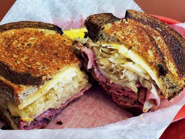 Hot pastrami sandwich at Far Land Provisions