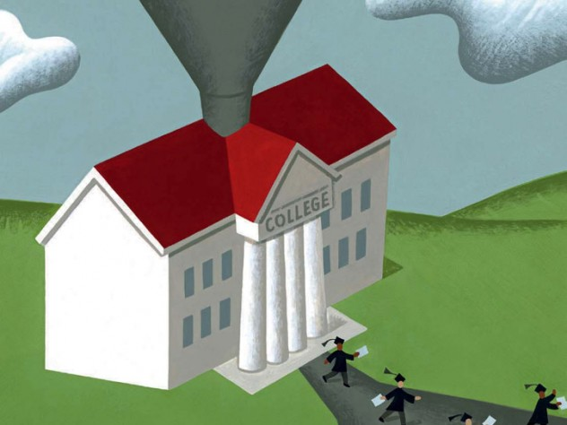 """An illustration showing money being deposited via funnel into a columned building labeled """"college"""""""