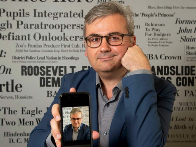 Photo of Geoffrey Fowler with old and new smartphones