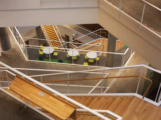 An example of the many floating staircases used to break up the massing of the building