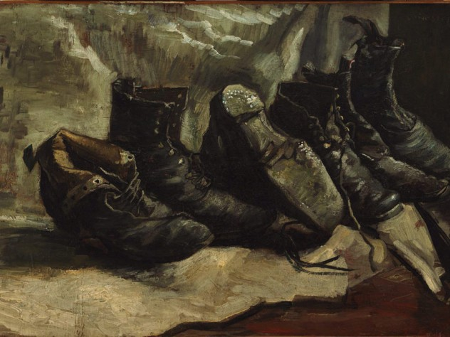 Painting of three pairs of worn, heavy shoes by Vincent van Gogh