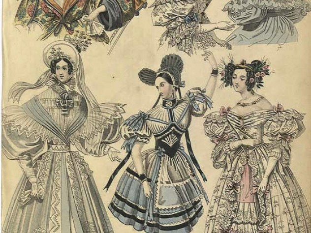 An 1833 engraving of elegant fashions for women, which includes a portrait of ballerina Marie Taglioni dressed as a Swiss milkmaid