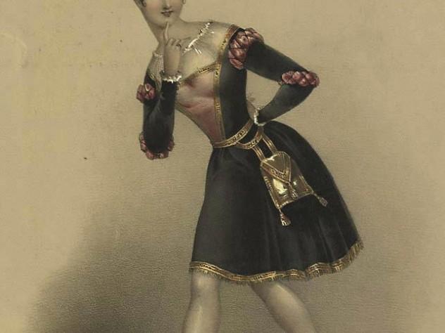 A portrait of ballerina Pauline Leroux in Scottish attire