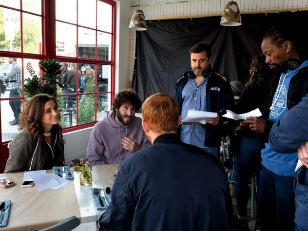 """Schaffer works on a scene with star Dave Burd (second from left) and other cast members from """"Dave."""""""
