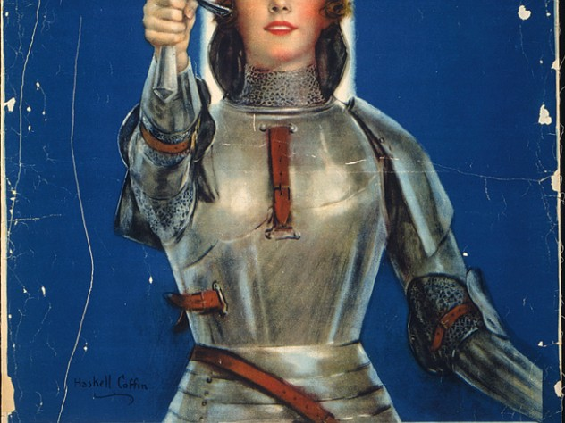 """This 1918 """"Joan of Arc"""" poster marketed  savings stamps that could ultimately be  exchanged for a war bond."""