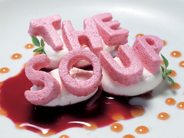 """This dessert from elBulli, """"alphabet soup,"""" masters the element of surprise with its """"letters"""" of crunchy, dehydrated strawberry meringue."""