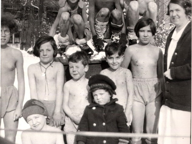 Year-round fresh air and sunlight were seen as curative in the early 1900s. Children at tuberculosis sanatoriums, including Wallum Lake (shown here), were sent outside barely clothed, even in winter.