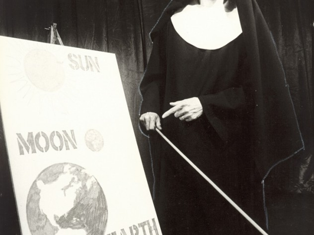 Elizabeth Franz, in the title role of Durang's 1980 play <em>Sister Mary Ignatius Explains It All for You</em>, lays out some Roman Catholic cosmology. Franz and Durang both won Obie awards.