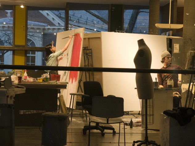 Student artists at work in the Carpenter Center