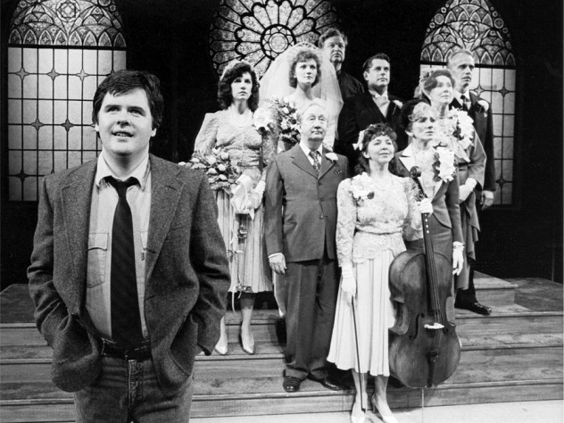 The opening wedding-party tableau of Durang's 1985 play <em>The Marriage of Bette and Boo</em>. Durang (in the foreground as Matt) essentially played himself. He and director Jerry Zaks won Obie awards, and the 10-person cast won that year's Obie for ensemble acting.