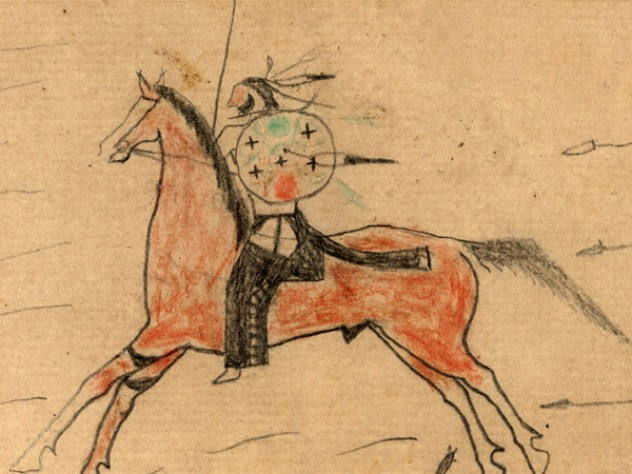 Detail from a ledger drawing by an unknown Plains Indian warrior, circa 1865, on exhibit at the Peabody Museum