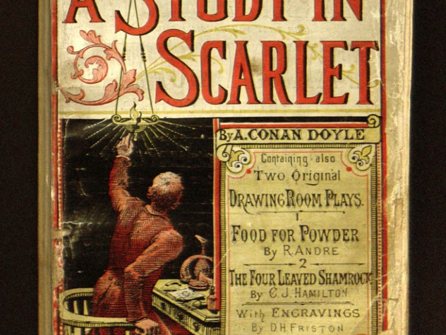 "The cover of <em>Beeton's Christmas Annual,</em> a periodical which included the first publication of Doyle's ""A Study in Scarlet,"" taken from Houghton's collection. With only about 30 copies still in existence, the magazine is considered rarer than Gutenberg Bibles."