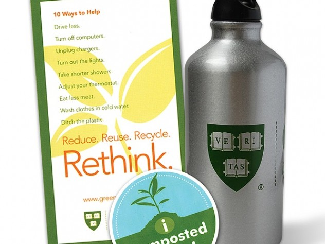 The consciousness-raising during Harvard's Sustainability Celebration included lots of giveaways, among them green-themed T-shirts and, from left to right, magnets, stickers, and water bottles.