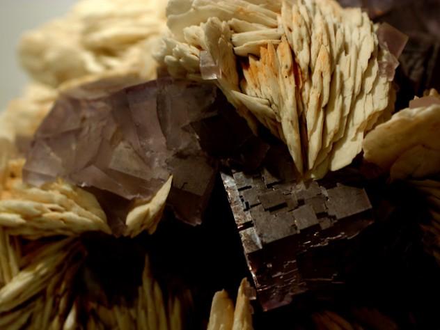 Purple crystals of fluorite, intergrown with barite, from Berbes, Oviedo (Asturias), Spain