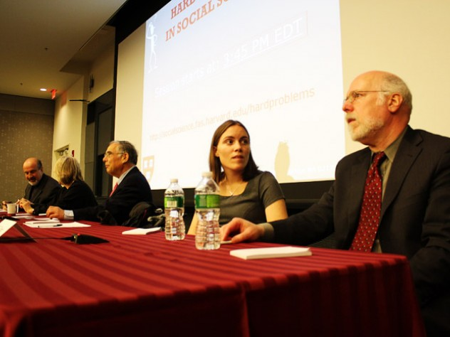 Amy Oster (second from right) and Stephen Kosslyn (right)