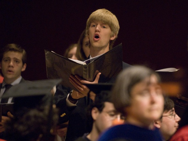 The Commencement Choir performed during the exercises. The soloist here is Allan Bradley '11.