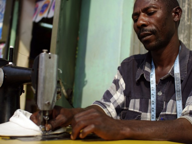 Matia Lule works as a tailor in Mbarara. SHIP provided the loan for him to buy his sewing machine; this business helps Lule afford transportation to the clinic to get his medicines, and other living expenses.