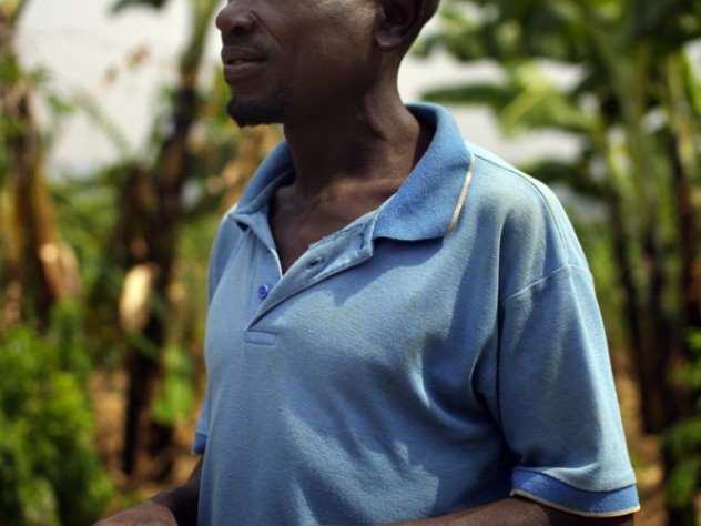Barigye, once sickly, is now healthy enough to expand his farm and build a new house for his family.