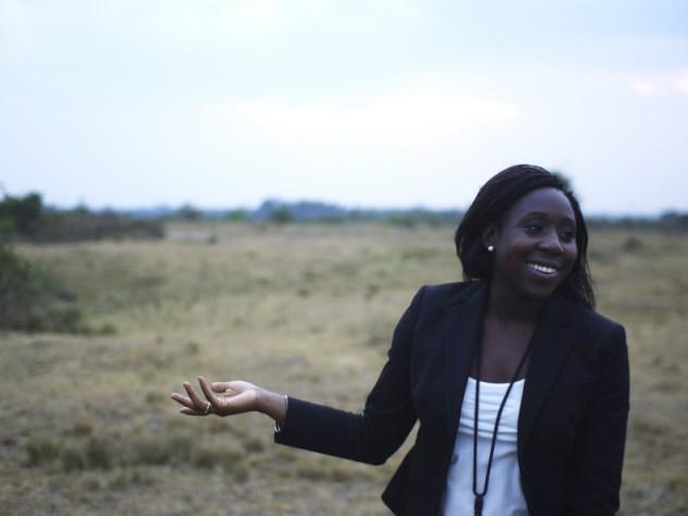 SHIP coordinator Nkechi Onyeji at the lemongrass farm, which is on land loaned to SHIP by the Ugandan university.
