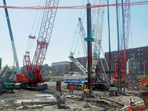Cranes dominate the future site of the Law School's Northwest Corner Building.