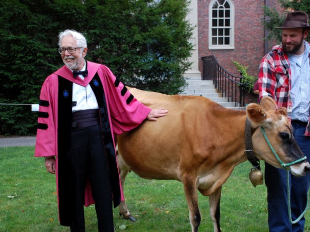 Harvey Cox, Harvard's ninth Hollis professor of divinity, introduces Faith, his guest of honor, and Ben Holmes, both from The Farm School, in Athol, Massachusetts.