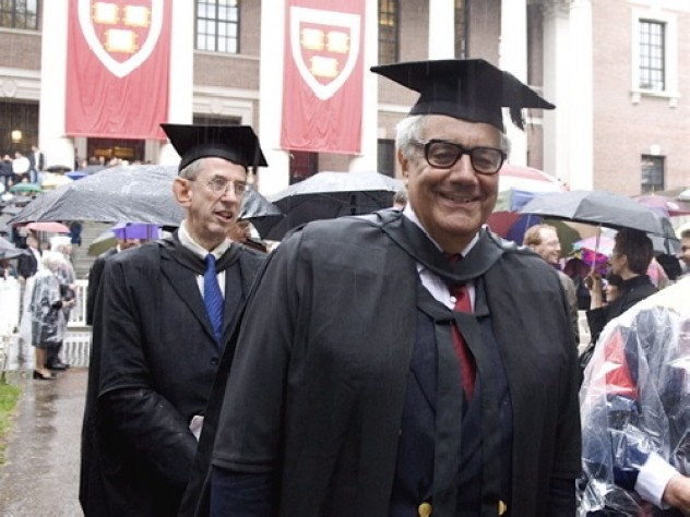 Representatives of 220 academic institutions joined the procession into Tercentenary Theatre—in the rain. Among them were