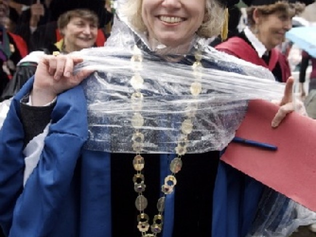 Elizabeth Fleming, President of Converse College, in the preferred garb of the day: academic gown and Harvard-supplied po