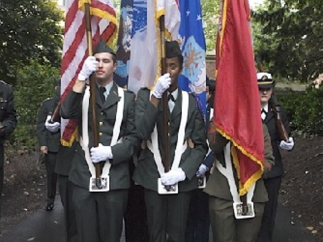 At the end of the installation ceremonies, a color guard of Harvard ROTC cadets led the parties from the stage in front of Memorial Church.