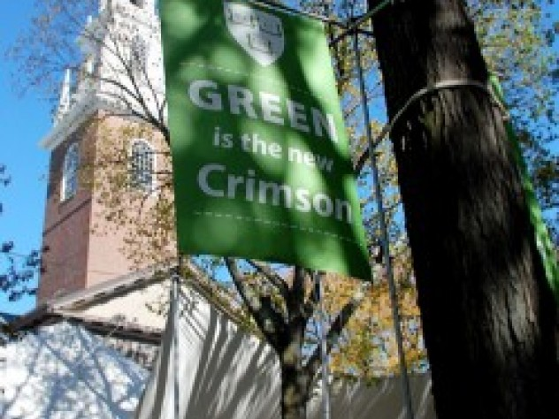 Trimmed in green for Gore's speech, Tercentenary Theatre was ringed with food tents serving locally produced hot cider, squash soup, and apple crisp to check the chills brought on by a raw fall day. (The photograph was taken earlier in the week when clear skies prevailed.)