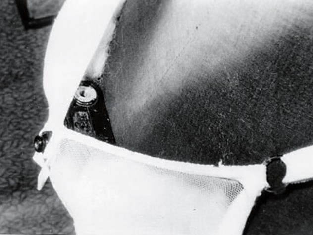 This camera-in-a-bra could take pictures through sheer fabric or lace. A remote release in a pocket operated the shutter.