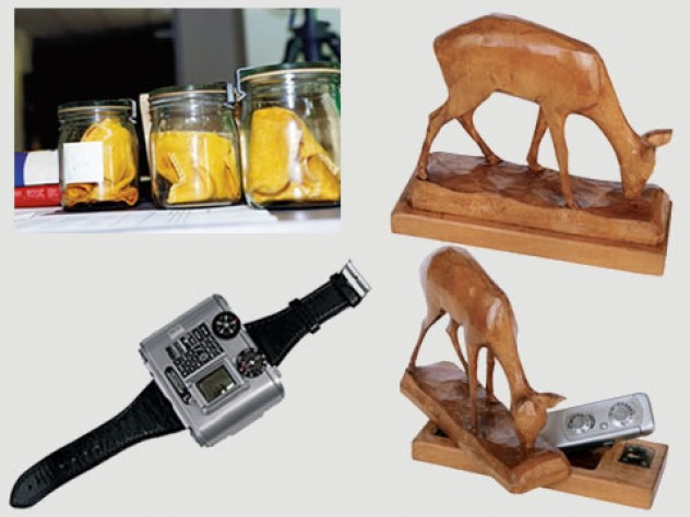 Tools of Stasi spying: jars containing dust cloths used to capture the body scent of people the Stasi was trying to track; a deer statuette with a camera hidden inside; a Swiss-made Tessina 35-mm miniature camera.