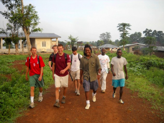 The GMin crew departs Sahn Malen for a village where they will distribute bed nets. From L to R: Clement Wright '09, Justin Grinstead '10, Sam Slaughter '09, Jacob Segal '09, David Sengeh '10, Red Cross volunteer Anthony Lebbie, and Sengeh's cousin Anthony Sengeh.