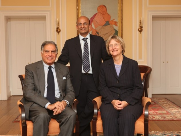 Left to right: Ratan Tata, Nitin Nohria, and Drew Faust at Harvard Business School.