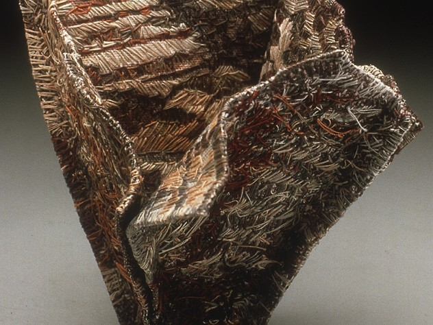 "In <i>Quarry</i> (1997), one of Behar's rare ""sculptural"" works, viewers can see stitching on both inner and outer surfaces."