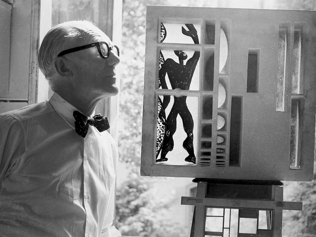 "Le Corbusier with his ""Modular"" system of human and architectural proportions."