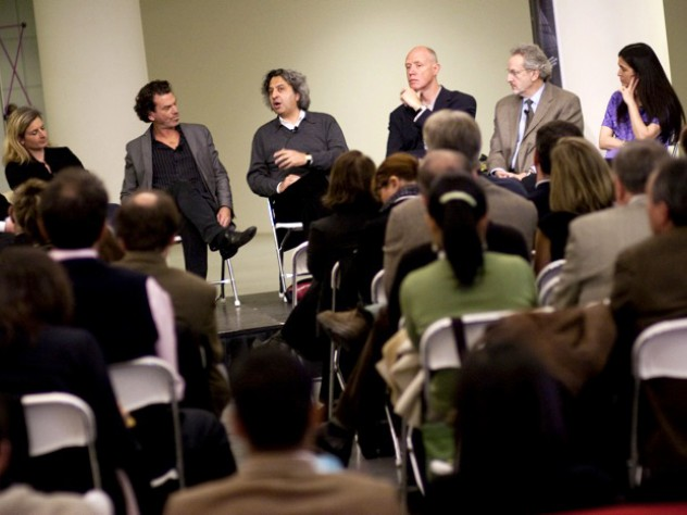 The panel discussion at the Laboratory at Harvard opening. From left to right: Michael John Gorman, Lisa Randall, David Edwards, Mohsen Mostafavi, Ken Arnold, Donald Ingber, and Diane Paulus.