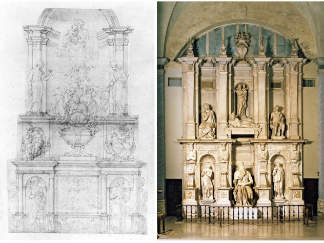 "Left: Michelangelo, tomb of Julius II, project of 1505, pen and ink, brush and wash, over stylus ruling and metalpoint. Right: Michelangelo, tomb of Julius II, begun 1505; ""compromised"" completion 1545, San Pietro in Vincoli, Rome"