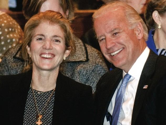 Caroline Kennedy and Vice President-elect Joe Biden