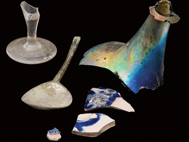 Pottery and glass shards unearthed from excavations of the Harvard campus.
