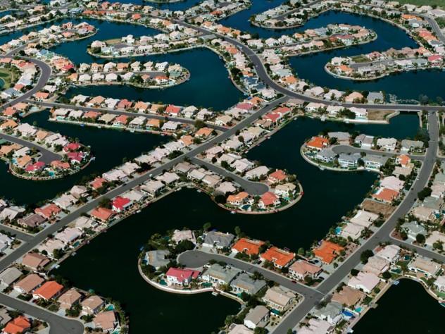 Glendale, Arizona - A detail of Arrowhead community's desert waterfront homes