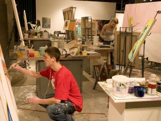 Student artists at work in the Carpenter Center.