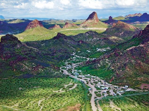 Trailers dot the landscape near Lake Havasu, Arizona.
