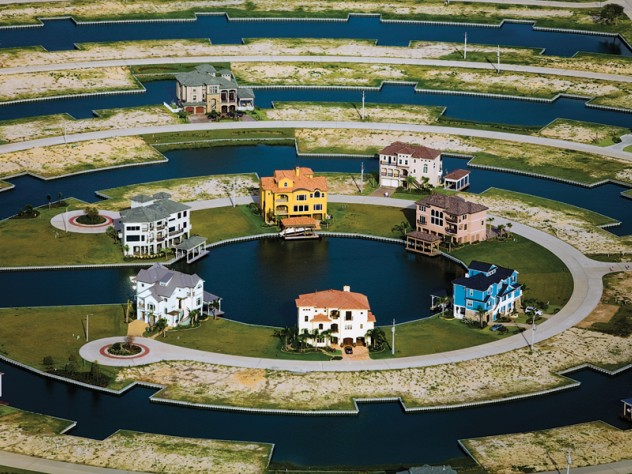 Homes in Galveston, Texas, are built on wetlands. MacLean fears that, if the sea level rises, communities like this one will be especially vulnerable.