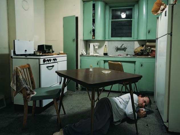 <em>Insomnia</em> (1994), by Canadian photographer Jeff Wall, is a completely staged cinematic photograph, set in an exact replica of the kitchen in Wall&rsquo;s studio. An actor portrays the victim of a nightmarish bout of insomnia.